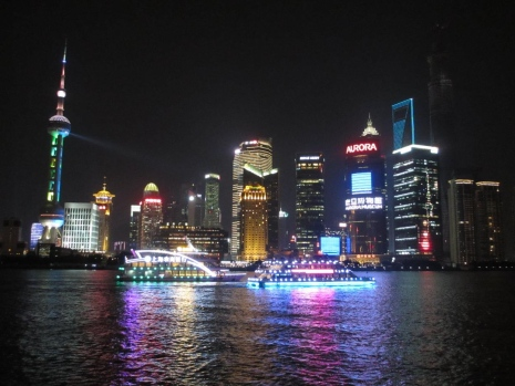 Pudong area in Shanghai by night.