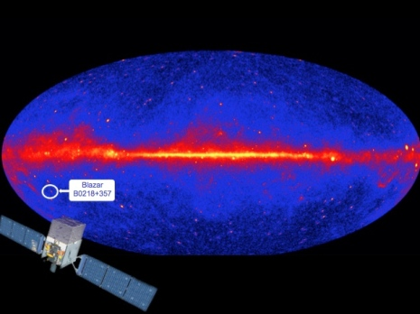 "The sky seen with the Fermi ""Large Area Telescope"" (LAT). Credit: NASA/DOE/Fermi LAT Collaboration"