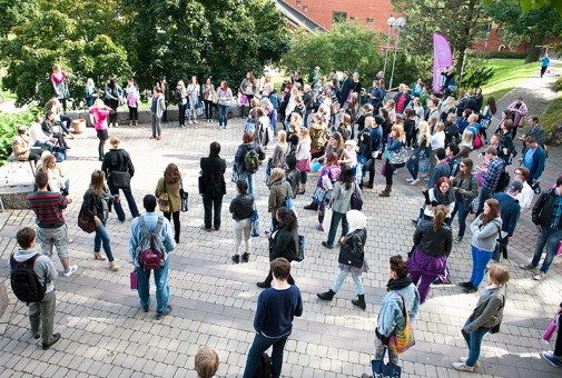 Crowd of people at Stockholm University