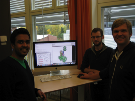 The research team that contributed with the best model of the serotonin 1B receptor. From left: Anirudh Ranganathan, David Rodriguez, and Jens Carlsson.