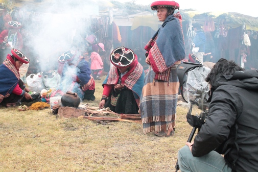 "Daniel Escobar Lopez filming at the ""Inter-Regional Festival Chinchero 2013"" in Cusco, Peru. Photo: Guiseppe Escobar Banda"