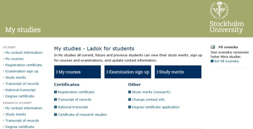 My Studies - Ladok for students