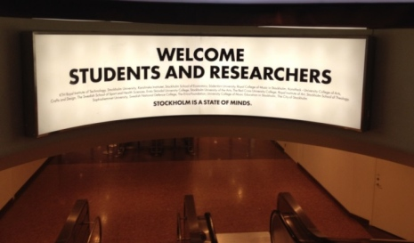 Welcome sign for students and researchers