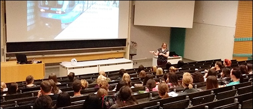 Exchange students in teacher education listening to a talk by Dr Mara Haslam about what it means to be a teacher in Sweden.